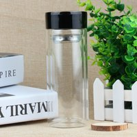 Wholesale double glasses layers for sale - Group buy custom logo clear glass Water Bottle double Layer glass tea cups Bottle business tea bottle With stainless Steel Infuser Tumbler
