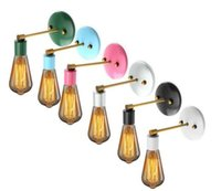 Wholesale Vintage Light Bulb Holder - E27 Industrial Sconce Antique Vintage Wall Lamp Bare Bulb Colorful Loft Iron Wall Light Holder For Living Room Bathroom Stair MYY