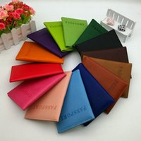 Wholesale Wholesale Plain Purses - Passport Wallets Card Holders holder Cover Case Protector PU Leather Travel purse wallet bag Passport ID Cover Case 11 color KKA2043