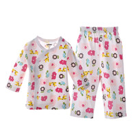 Wholesale 2 pieces new M M boy and girl baby cotton long sleeve Pajamas cartoon baby clothes suit DR0028