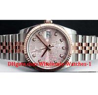 rosa rosa regalo al por mayor-Nuevo llega Relojes de lujo caja de regalo gratis Reloj de pulsera Nuevo 36 mm Rose Gold SS Pink Jubilee Diamond Dial - 116231