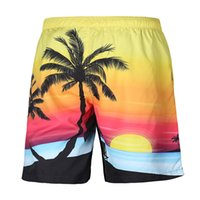 Wholesale Sunset Pants - 2017 new 3d print sunset coconut tree sea beach short pants mens loose big sizes shorts male pants wholesale cheap pant free shipping