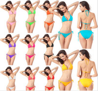 Wholesale Cheap Women Piece Suits - Women swimming wear sexy lingerie 11colors simple design and cheap European-America style belt Bkini beach suit 2-piece
