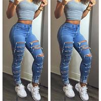 Wholesale light jeans for women - Wholesale- 2016 New Fashion Summer Style Women Jeans ripped Holes Harem Pants Jeans Slim vintage boyfriend jeans for women