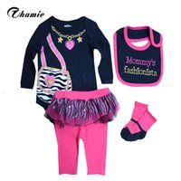 Wholesale Black Collection Clothing - Wholesale- Baby Girls Clothes Sets Infantis Baby Gift Collection Boys Bodysuits Pants Bib Socks Clothing Set, 0-9 Months