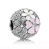 Wholesale Charm Clip Lock - Authentic 925 Sterling Silver Bead Charm Poetic Blooms Fixed Clip Lock Stopper Beads Fit Pandora Bracelet Bangle Diy Jewelry