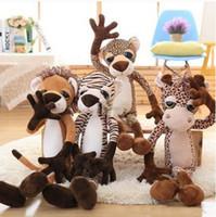 Wholesale Big Giraffe Stuffed Animal - 80cm Big Forest Animals Toy Stuffed Soft Plush 31'' Giraffe Lion Tiger Leopard Doll Pillow Free Shipping