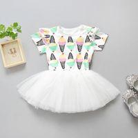kinder sahne sommer großhandel-Eiscreme gedruckt Baby Mädchen Kleid INS heiße Sommer Kinder Röcke Kinder Tutu Kleider Babys Kleidung