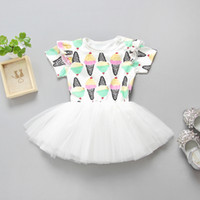 Wholesale Hot Skirt Styles - Ice cream printed baby girls dress INS hot summer kids skirts children tutu dresses babies clothing