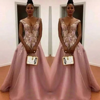Wholesale Dusty Pink Ivory Dresses - Dusty Pink A Line Prom Dresses South African Sheer Neck Flora Appliques Evening Gowns Floor Length Zipper Back Formal Party Dress