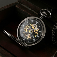 Wholesale Mechanical Wind Up Pocket Watches - Wholesale-ESS Men Elegant Stainless Steel Case Hand-Wind Up Mechanical Pocket Watch Gift Chain Watches WP118-ESS