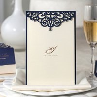 Wholesale Wedding Invitations with Laser Cut Navy Blue Floral and Rhinestone Engagement Printable Invites Cards for Birthday Party CM502