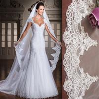 véu de noiva de marfim de 3m venda por atacado-Branco / Marfim 3 M Comprimento Da Catedral de Comprimento Da Borda Do Laço De Noiva Longa Véu Com Pente Acessórios Do Casamento velos de novia