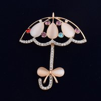 Wholesale Cheap Small Brooches - small umbrella opal jewelry cheap brooches pins fashion brooches gold brooch for wedding gifts for guest brooch wedding party favors