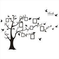 molduras para adesivos de parede 3d venda por atacado-Moda de Nova Moderna 3D Adesivo na Parede Preto Da Arte Da Foto Quadro de Memória Árvore Adesivos de Parede Home Decor Decalque Da Parede Da Árvore Da Família