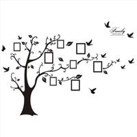 siyah fotoğraf çerçevesi ağacı toptan satış-Moda Yeni Modern 3D Sticker Duvardaki Siyah Sanat Fotoğraf Çerçevesi bellek Ağaç Duvar Çıkartmaları Ev Dekor Aile Ağacı D ...