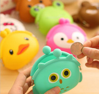 Wholesale One Shoulder Lovely - DHL Free Mini key Wallet bag Women Silicone Coin Purse Japanese Candy Color lovely Animals Jelly change Coin bag JC20