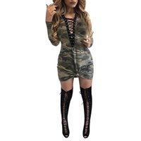 Wholesale Dress Women Sexy Sleeves - Sexy Bandage Women Dresses 2017 Fashion Spring Autumn Camouflage Print Mini Dress Long Sleeve Lady Dress Girls Vestidos