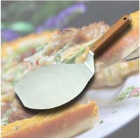 mangos de pala de madera al por mayor-Suministros de Navidad de moda Mango de madera Elevador de pastel de acero inoxidable Servidor de pizza Espátula de galleta Pala de pizza grande DHL