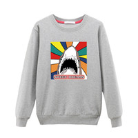 Wholesale Short Sleeve Sweats Hoodies - Shark Printing Hoodies Sweatshirts harajuku Crew neck Sweats Women Clothing Feminina Loose Short Fleece Jumper Sweats Warm