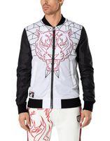 Wholesale Metal Badge Printing - 2017 New design Germany brand men's 2 colors metal badge tiger head stand collar zipper jacket size M-3XL NWT DA