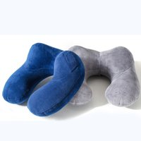 Wholesale Inflatable Travel Neck Cushion - U-type travel pillow portable inflatable neck pillow airplane car head cushions outdoor office comfortable sleep pillow