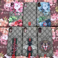 Wholesale tiger cards - luxury brand printing tiger snake flower card slot phone shell case for iphone X 7 7plus 8 8plus hard back cover for iphone 6 6S 6 plus