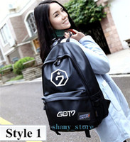 Wholesale Red Small Laptops - Korea BTS EXO GOT7 bigbang fashion computer laptop travel Backpacks high quality black color school bags for men woman girls