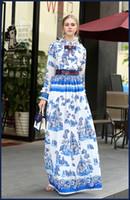 Wholesale Turtle Neck Stand Collar - Runway Dress 2017 Blue Stand Collar Long Sleeves Sequins Print Long Women Dress Bohemian Holiday Beach Maxi Dress N023