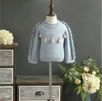 Wholesale Sweater Korean Girl - Autumn Baby Girl Knit Tassel Sweaters Kids Girls Fashion Ruffles Jumper Pullover 2017 Babies Korean clothes