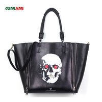 Atacado- GINIANI Real Leather Feminino Dual Zippers Big Shopping Tote Bags Moda Black Rock Style Skull Painting Large Handbags