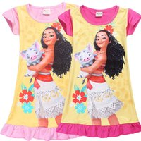Wholesale Shorts Princess Tutu Children - Girl Moana princess dresses 2 Color Kids baby girls new printing moana short sleeves dress summer cartoon Children night skirt B001