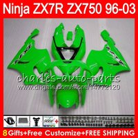8Gifts 23Colors Para KAWASAKI NINJA ZX7R 96 97 98 99 00 01 02 03 verde brillante 18NO70 ZX750 ZX 7R ZX-7R 1996 1997 1998 2001 2002 2003 Carenado