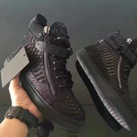 Wholesale Italian Black Leather Sneakers Men - Brand Italian Designer Zanottys Men Sneakers Women Casual Shoes Black Brown Genuine Leather High Top Lace-up Sports Shoes,Double Zippers