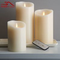 Wholesale yellow pillar candles - 3pcs set classic Wax Luminara Moving Wick Flameless Candle with Vanilla Scented Battery Powered Timer & Remote Included for Decoration