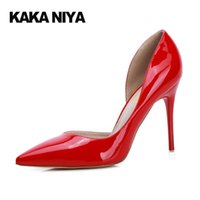 Wholesale Women Sexy Shoes Inch - Women Thin 2017 Summer Red Patent Leather D'orsay High Heels Pointed Toe Pumps 9cm 4 Inch Extreme Sexy White Shoes Fashion Slip