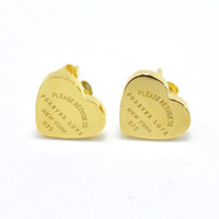 "Wholesale Wholesale Date Stamps - Stainless Steel Rose Gold Color Luxury Love Heart Earring Women 'Forever love"" Stamp Women Stud Earring Jewelry Gift"