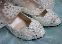 vestidos de dama de honor de ballet al por mayor-Boda blanca plana flores de encaje ballet cristal zapatos nupciales vestido de dama de honor sz