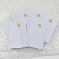 beyaz boş kart toptan satış-SEL4442 Çip ile 100 adet / grup ISO7816 Beyaz PVC Kart İletişim IC Kart Boş İletişim Akıllı Kart
