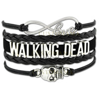 Wholesale Day Dead Skulls - Custom-Infinity Love Walking Dead Skull Charm Gift for Lovers Wax Cords Wrap Braided Leather Bracelet Adjustable Bangles-Drop Shipping