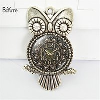 BoYuTe (12 Pieces / Lot) Оптовая 55 * 36 * 25MM Vintage Jewelry Image Glass Cabochon Owl Clock Pendant Diy Pendant Necklace