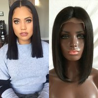 Wholesale Human Lace Wigs Wholesale - Side Middle Free Part Short BoB Brazilian Human Hair Wigs For Black Women Natural Color Bob Style Glueless Full Lace Wigs