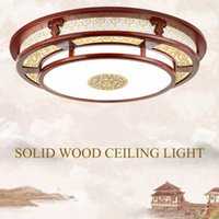 Wholesale Wood Ceiling Lamps - Chinese Style Ceiling Light Solid Wood Frame Imitation Sheepskin lampshade Living Dinning Bedroom Room Carving Lamp Indoor Lighting