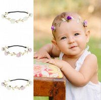 Wholesale Infant Princess Accessories - Infant Baby Girls Floral Leaf Headbands Toddler Princess Shinny Hairbands 2017 Babies Cute Headwear Childrens Hair Accessories