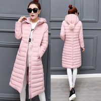 Wholesale Korean Down Coat Women - New Korean Winter Coat Thick Padded Knees Down Girls Long Slim Was Thin Cotton-padded Jacket Winter Coat