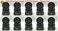 Wholesale Mini Wash Light - (10 pieces lot) led wash 7x12w rgbw 4in1 moving head light dj equipment powerful mini moving light