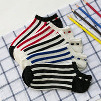 Wholesale Mens Fashion Stripe Socks - Spring and Summer Cotton Mens Stripes Shallow Socks Slippers Solid Color Comfortable and Breathable Fashion Socks