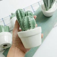 Wholesale Miniature Vases - Ceramic Cactus Vase Potted Stylish Miniatures Porcelain Craft Study Desktop Decor Creative Photography Prop Hot Sale 7 99mx F R