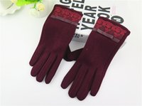 Wholesale New Design Fashion Women Gloves Autumn Winter Cute Bow Warm warmer Mitts Full Finger Mittens Women Cashmere Female Gloves