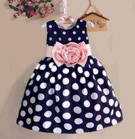 weiße große tupfen großhandel-Große Polka Dot Kleid Mädchen Weiß Schwarz Bogen Gürtel Schärpe Designs Sommerkleider für Kinder 3t bis 8t